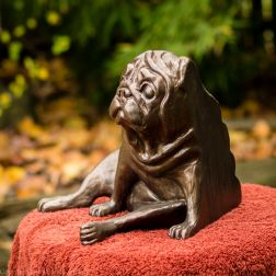 pug bookend in bronze - left hand side (3 of 9)